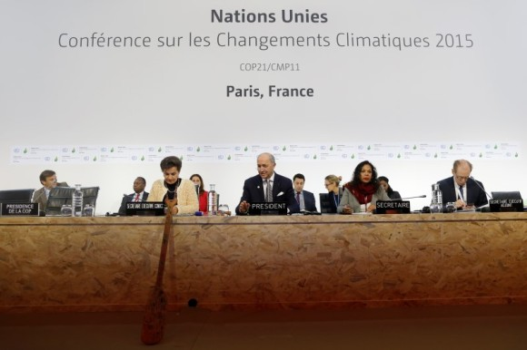 French Foreign Minister Laurent Fabius, President-designate of COP21, and Secretary of the UN Framework Convention on Climate change Christiana Figueres (L) attend the World Climate Change Conference 2015 (COP21) at Le Bourget, near Paris, France